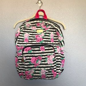 EUC Betsy Johnson Striped Floral Backpack Faded